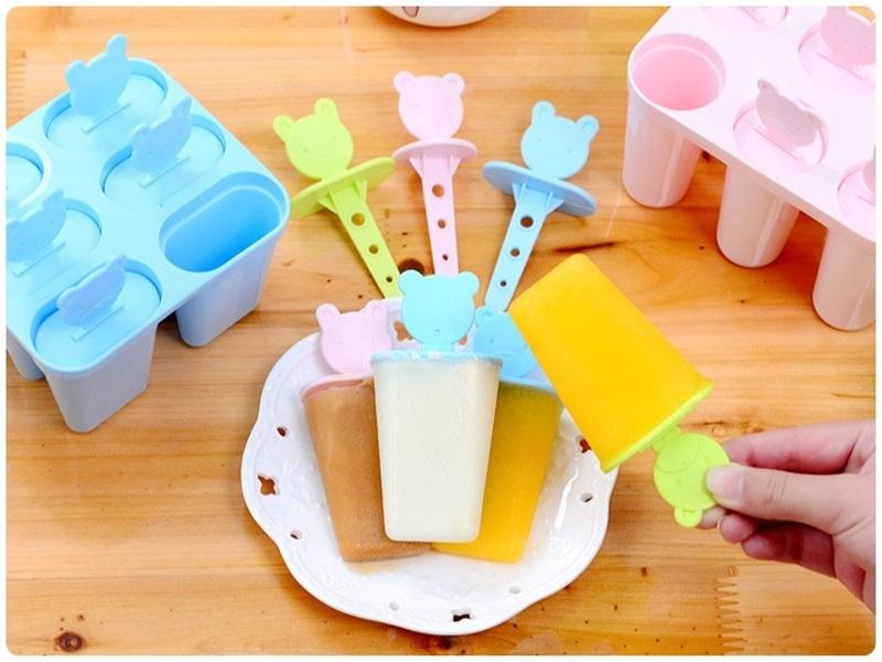 扁款【小熊冰棒盒】DIY可愛動物造型雪糕模 布丁模具 製冰盒 冰棍 冰格(6格)