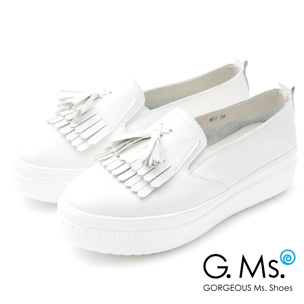 G.Ms.牛皮厚底鬆糕流蘇懶人休閒鞋G款*白色