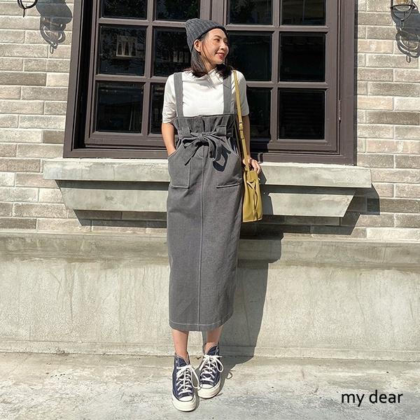MD韓-高腰綁結背心洋裝-2色【01190810】