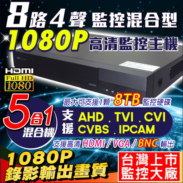1080P 8路DVR監視器主機支援AHD TVI CVI 960H IPC 720P 8路4聲支援手機監看DVR