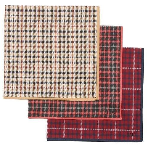 【京之物語】日本製DAKS細格紋女性絲巾(手帕)-紅色/粉色/卡其色