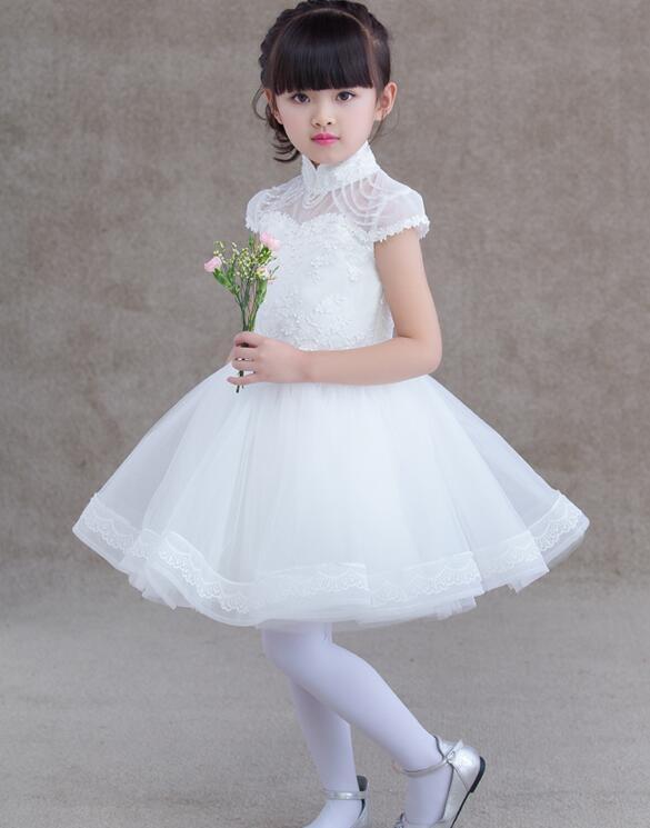 熊孩子兒童禮服裙公主裙女童禮服白色短款