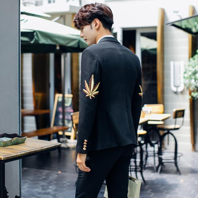 雙排扣西裝西服男修身上衣韓版刺繡西服1件套tw