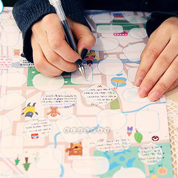 【超值文具3件52折】【BlueCat】Dream map夢想地圖牆壁對話留言板/卡片/生日禮物