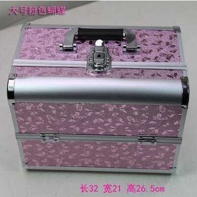 新款手提大號化妝箱專業化妝師必備紋繡工具箱彩妝箱大號粉色蝴蝶