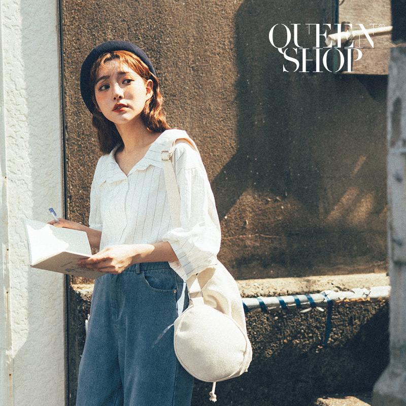 Queen Shop【01023459】後綁帶條紋襯衫*現+預*