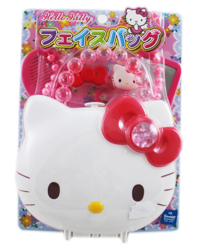 卡漫城Hello Kitty玩具手提包版女孩子玩具組5件扮家家酒模型日版鏡子梳子化妝包