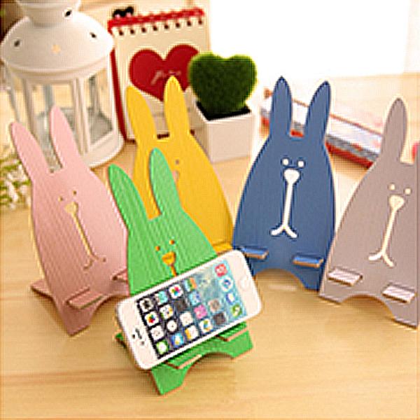 韓國創意木質懶人兔子手機架 動物木製組合手機托架 不挑款【AN SHOP】