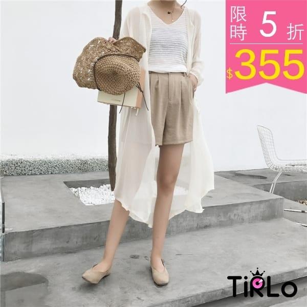 罩衫-Tirlo-氣質澎袖抽繩雪紡長罩衫-三色現追加預計5-7工作天出貨