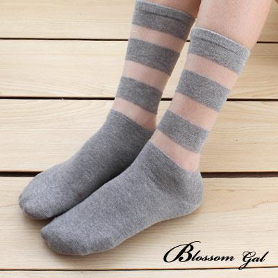 雙色橫紋透感短襪(共2色)