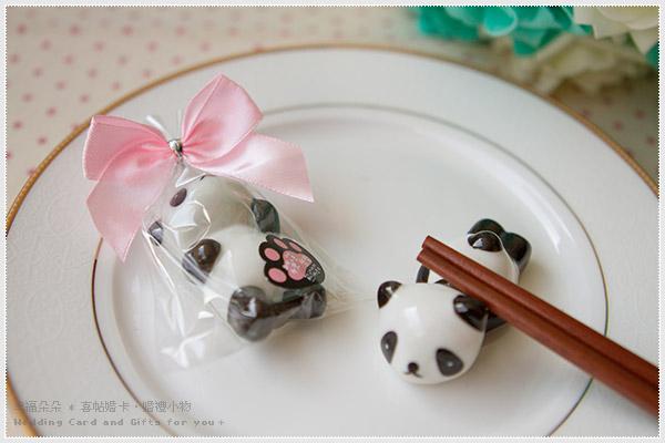 幸福朵朵筷筷樂樂熊貓筷架2款造型隨機出貨-筷子架二次進場探房結禮禮物婚禮小物