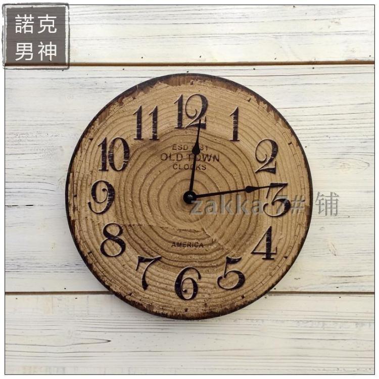 掛鐘 美式鄉村復古現代年輪創意木質裝飾掛鐘家居客廳店鋪墻面壁掛壁飾【諾克男神】