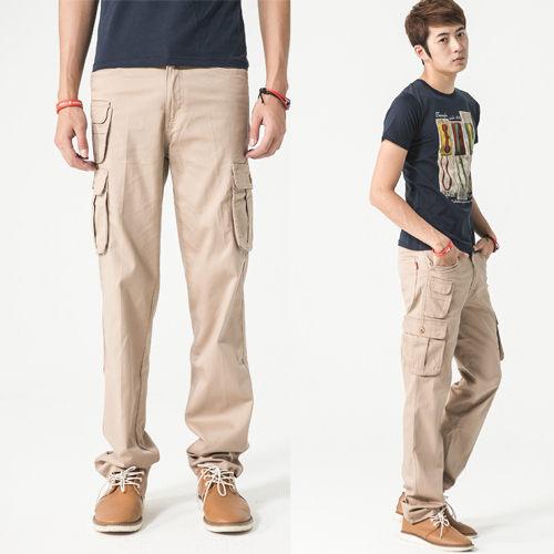 卡其色立體多口袋設計工作褲.休閒褲