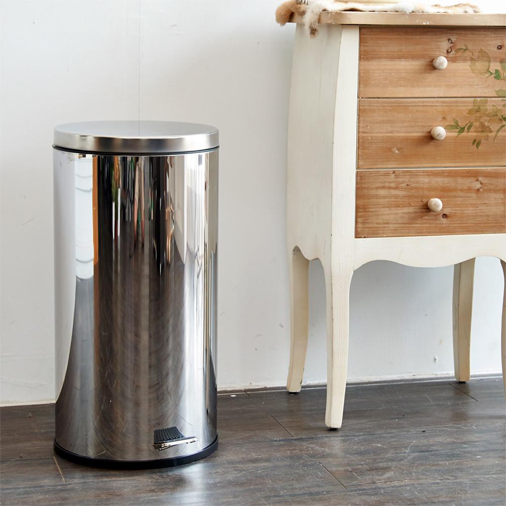 【ikloo】不鏽鋼腳踏垃圾桶-30L(台灣製造)