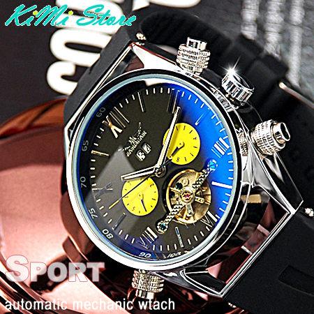 真三眼 運動風 陀飛輪機械錶 自動上鏈 / 型男錶 / 日期 / 星期 / 月份 手錶【KIMI store】