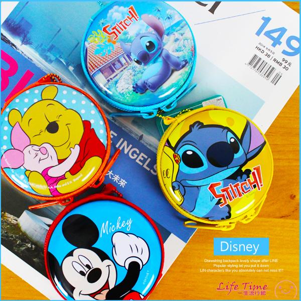 迪士尼正版小熊維尼史迪奇圓型鐵硬殼零錢包收納耳機包小物包B01772