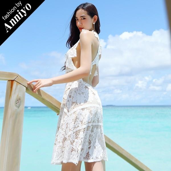 Anniyo安妞無袖寬肩帶氣質修身顯瘦波西米亞蕾絲鏤空露背連衣裙海邊度假沙灘裙洋裝白色