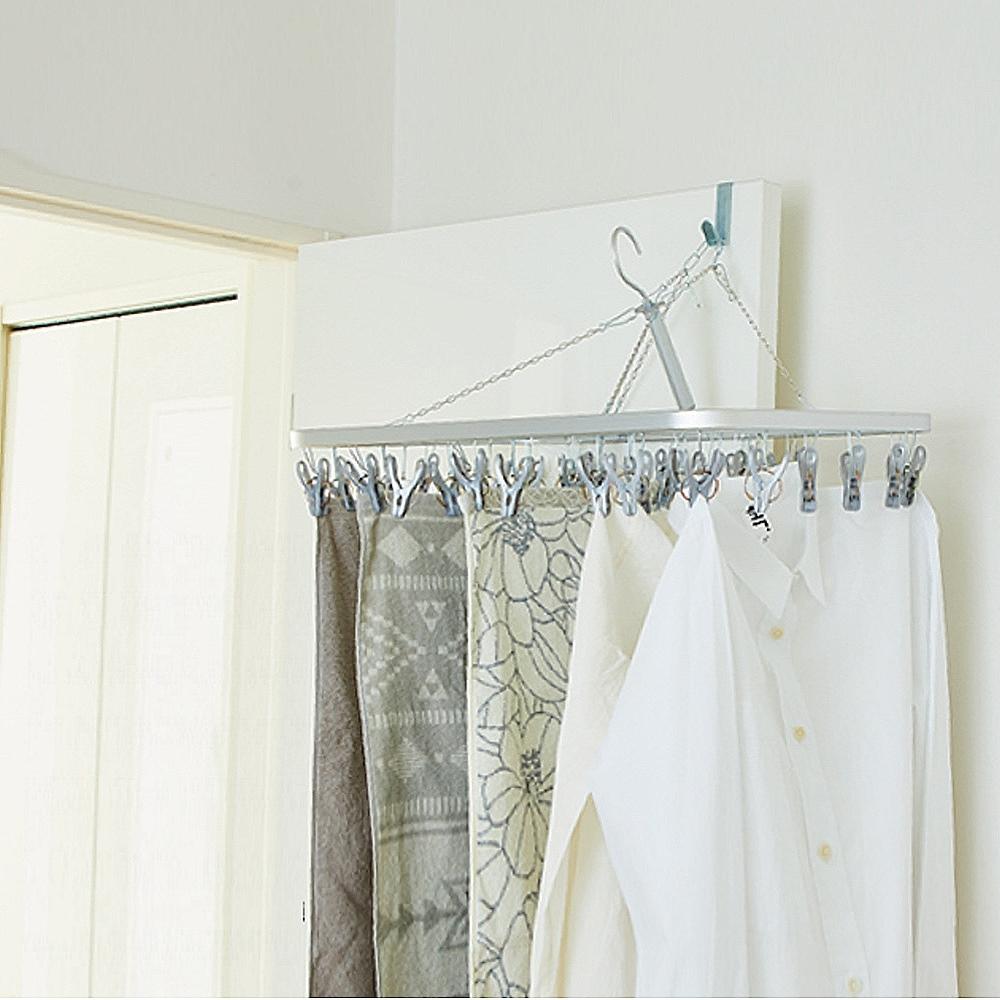 日本AISEN【變身機能】鋁合金框架32夾曬衣架