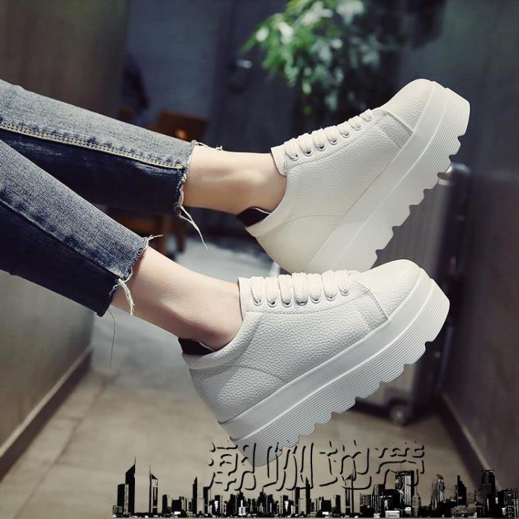 女士運動鞋韓版女運動鞋子內增高休閒單鞋潮咖地帶