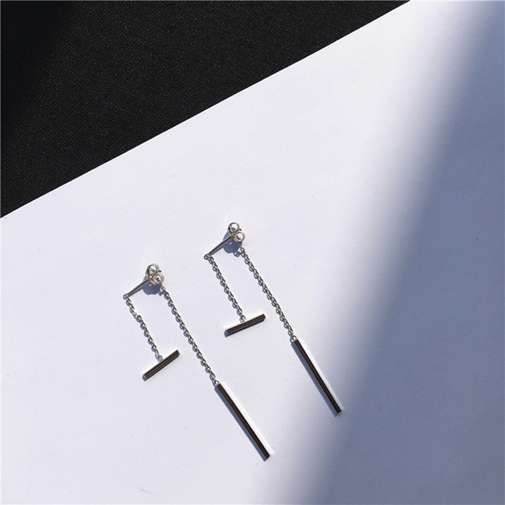 O-ni O-ni韓版鍍S925銀簡約一字棒柱針式耳環S925-8銀色