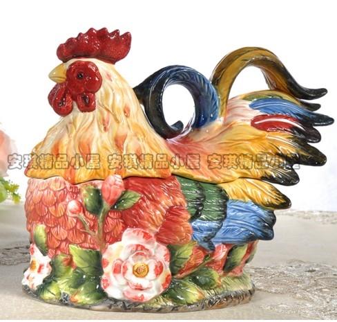 協貿國際歐式玫瑰花雞糖果罐陶瓷儲蓄罐