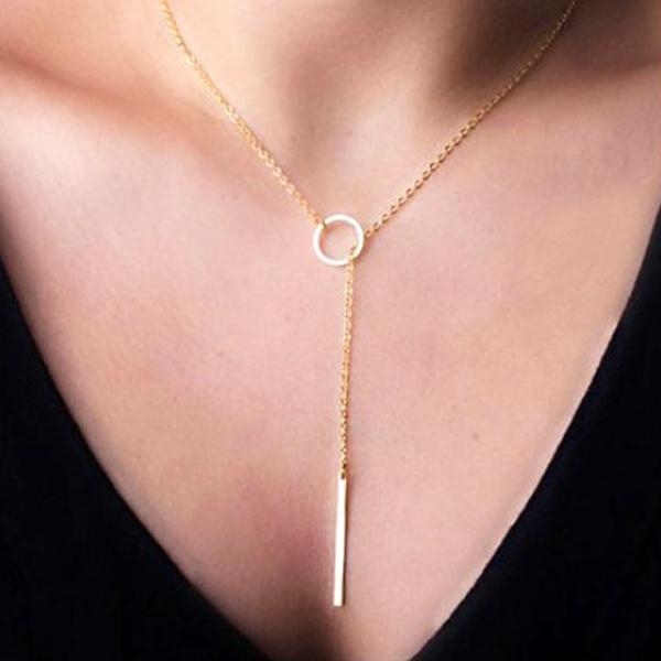 簡約簡單鏈條金屬圓圈短款項鍊頸鍊