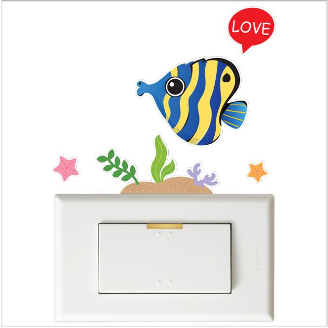 【彩色開關小壁貼】蝴蝶魚  # 壁貼 防水貼紙 汽機車貼紙 10.2cm x 10.7cm