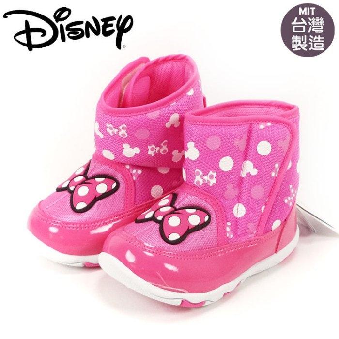 童靴正版Disney迪士尼米妮桃色蝴蝶結魔鬼氈雪靴.太空靴~EMMA商城