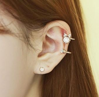 韓版鑲鑽造型無耳洞耳夾耳扣耳夾式耳環B1085