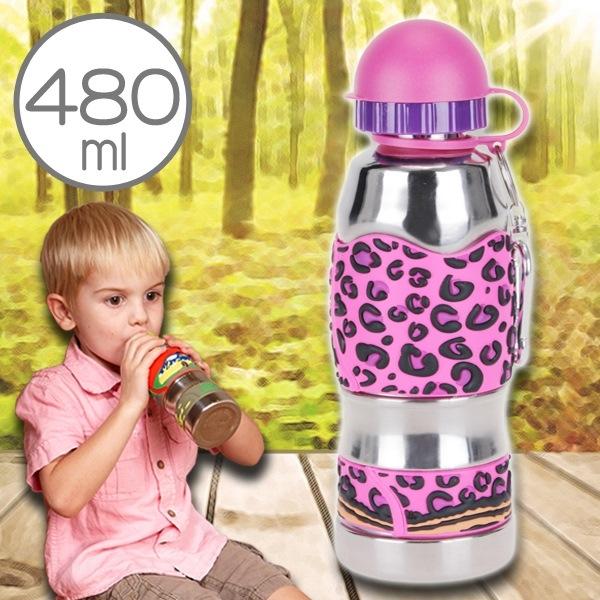美國i.d.gear兒童水壺不鏽鋼幼童水瓶水杯-熱火豹紋480CC B-2MST035