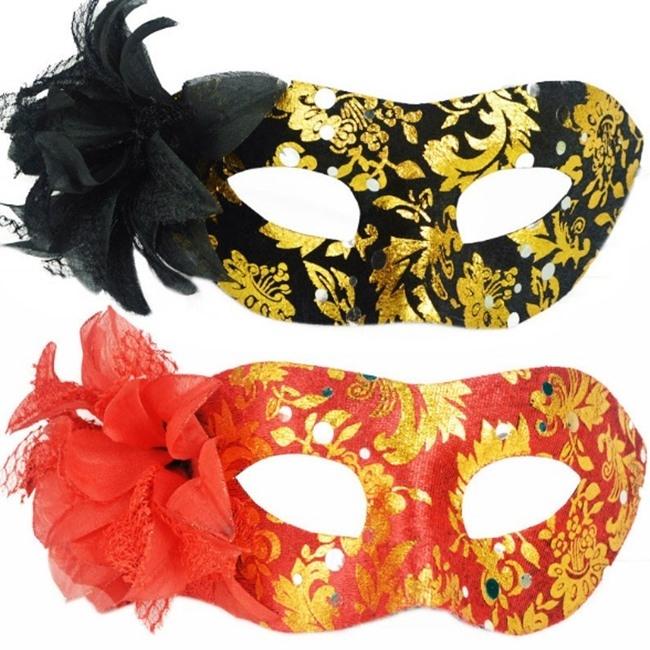 【塔克】平頭圍邊包布 側花面具 面具 面罩 威尼斯 花紋包布面具 眼罩 cosplay 表演 舞會