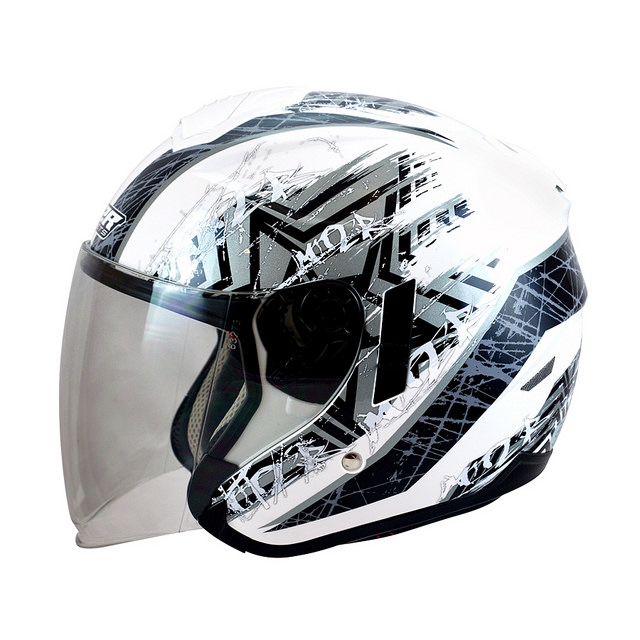 M2R FR1 FR-1 10星塵白銀半罩安全帽3 4罩安全帽雙層遮陽鏡片免運費