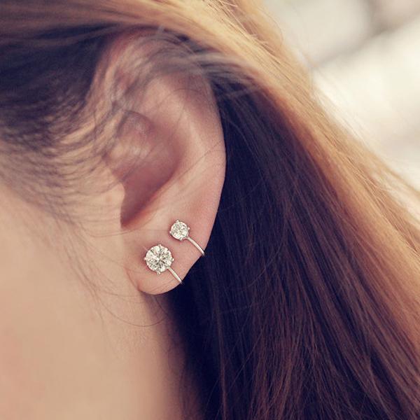 Qmigirl韓版氣質閃耀水鑽無耳洞夾式耳環耳夾耳飾G2428
