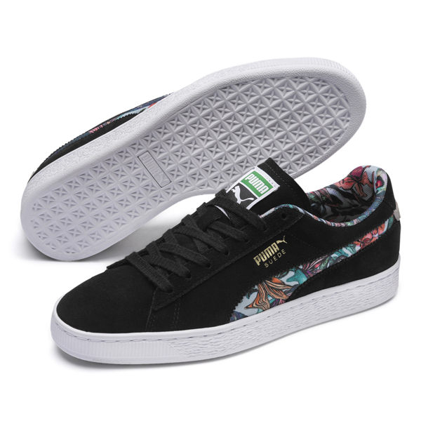 Puma Suede 男女 黑 印花 滑板鞋 板鞋 麂皮 休閒鞋 搖滾 運動鞋 休閒鞋 36923801