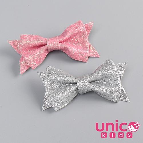 UNICO 兒童 歐美新款亮蔥銀色桃粉色全包布髮夾-2入組