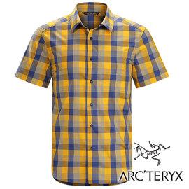 Arc'teryx始祖鳥Brohm透氣格子短袖襯衫男橘紫17217休閒襯衫商務襯衫吸濕排汗