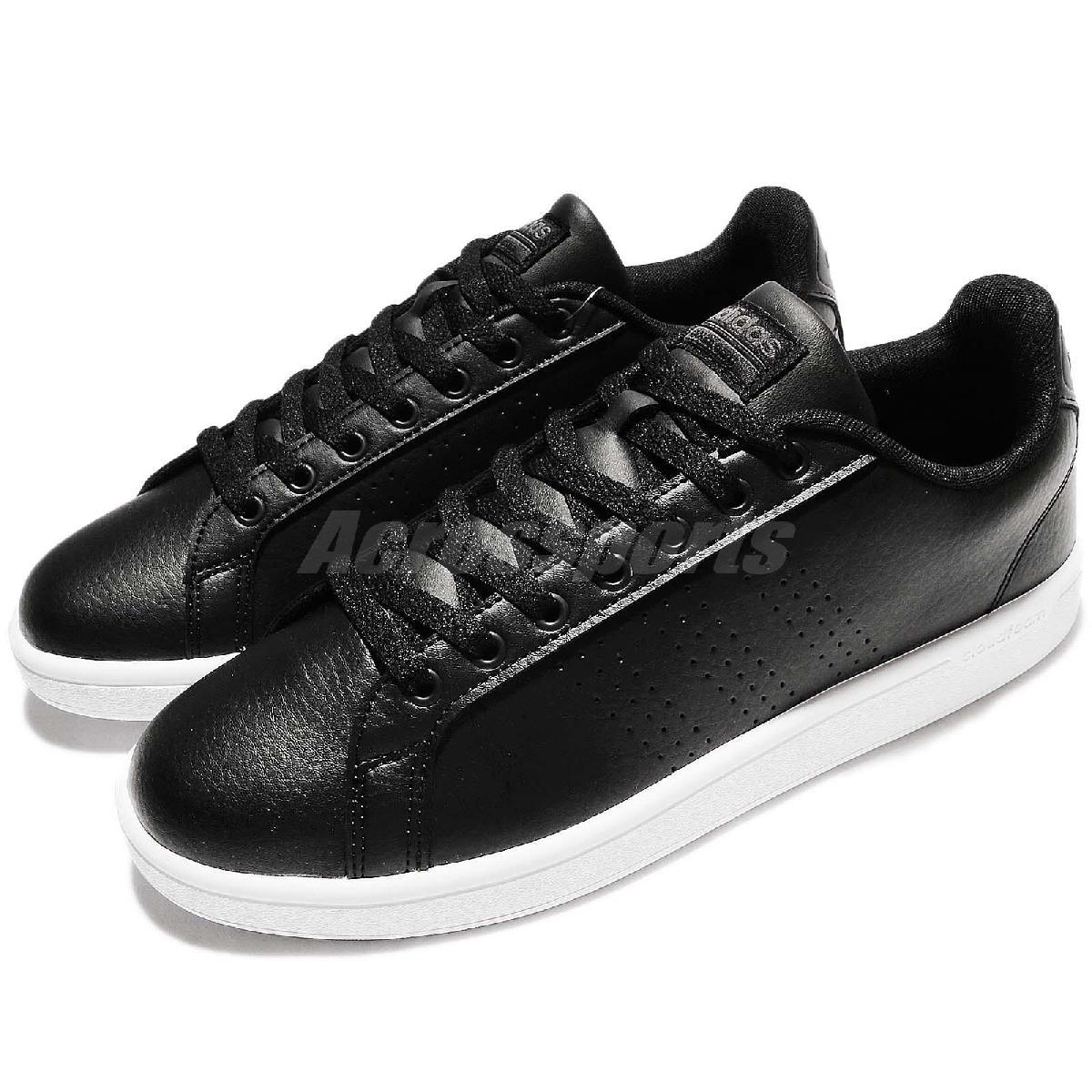 adidas 休閒鞋 Cloudfoam Advantage Clean 黑 白 皮革 百搭 黑白 基本款 男鞋【PUMP306】 AW3915