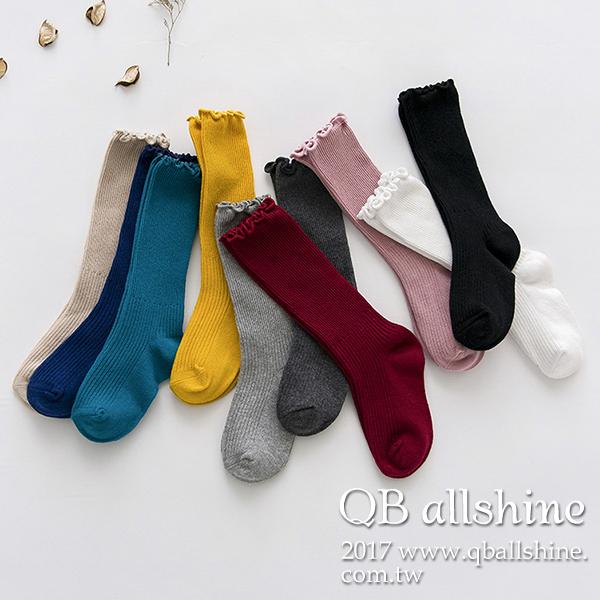 童襪甜美木耳捲邊捲邊中筒襪韓國外貿中大童QB allshine