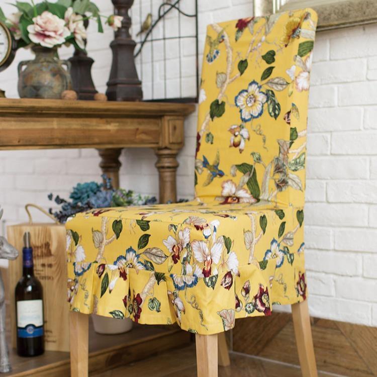 [超豐國際]樹枝花黃色棉布藝連體椅套 餐椅套 軟包椅子套特價1入