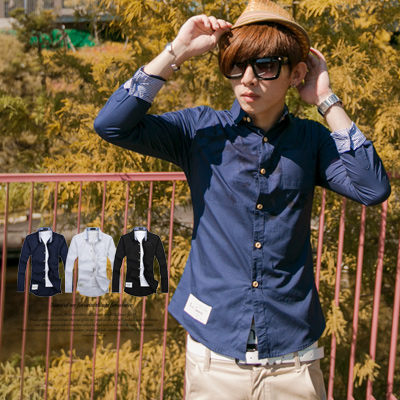 襯衫柒零年代Fall N8123J韓版skinny合身條紋反摺袖素面長袖襯衫JK0025