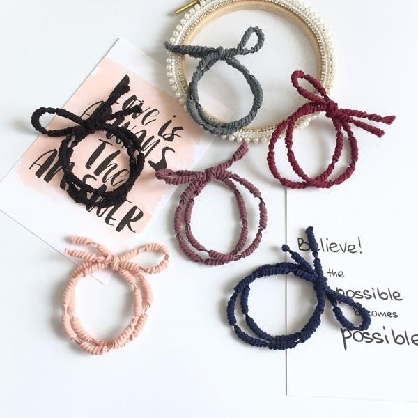 [協貿國際]基礎扎頭髮頭繩 螺紋高彈力打結髮圈 蝴蝶結髮繩耐用皮筋1入