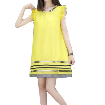 休閒針織顯瘦波浪無袖膠印花A字長版上衣連身裙 (黑  黃)二色售 11850066