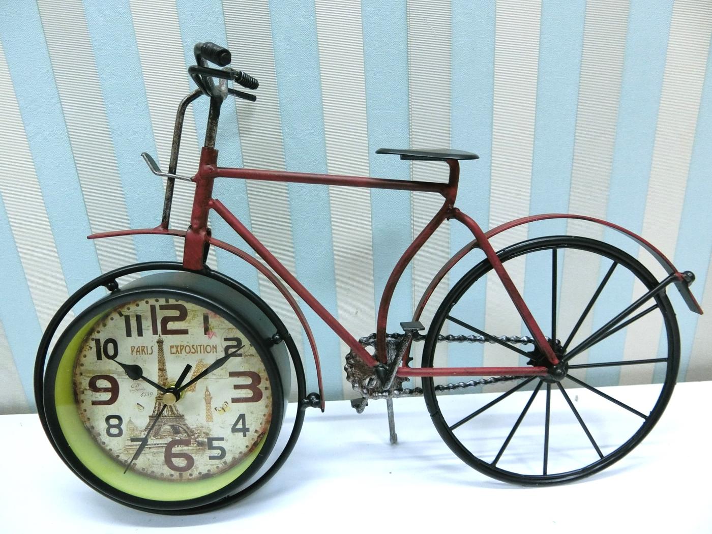 鐵製自行車桌鐘FCA8-2鐵製造型桌鐘美式鄉村時鐘復古桌鐘仿舊裝飾鐘工業風絢寓居家