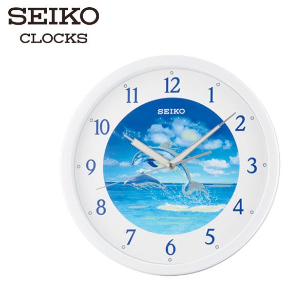 SEIKO精工掛鐘夜光海豚海靜音掛鐘x直徑31.1cm高雄門市QXA595W公司貨