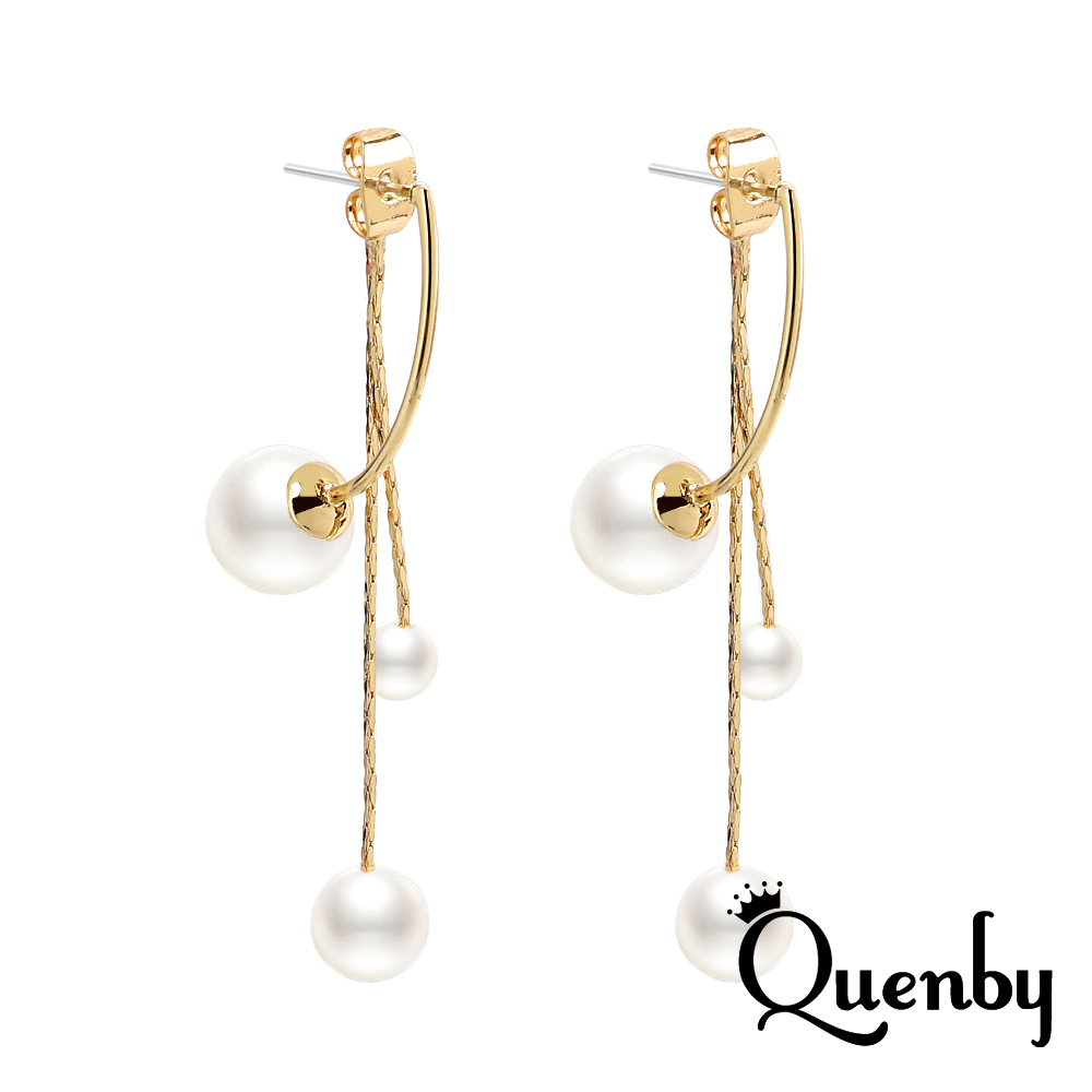 Quenby 925純銀 簡約百搭後掛式珍珠吊墜耳環/耳針
