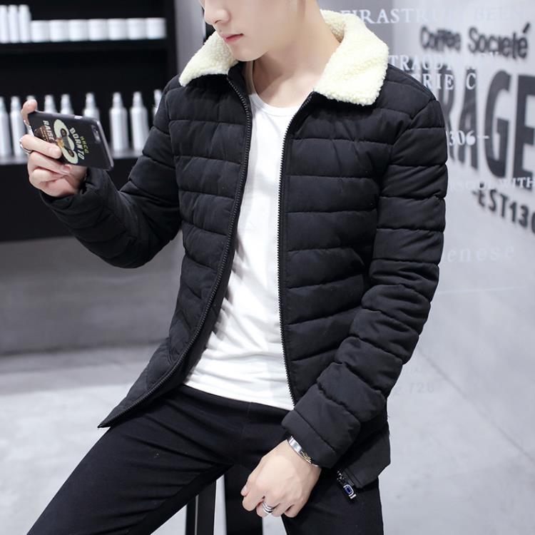 [超豐國際]秋冬季加厚男士棉衣韓版修身青年中長款保暖外套學生