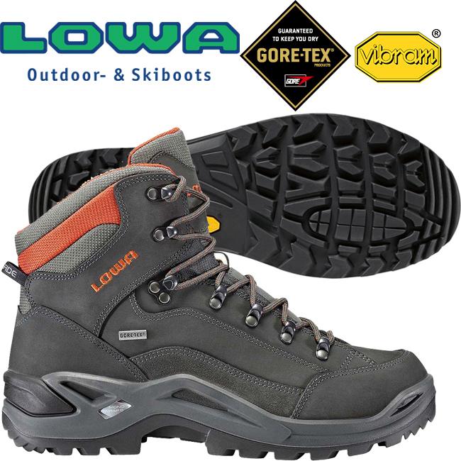 Lowa 310945-9074灰磚紅男Gore-Tex中筒多功能健行鞋Renegade Mid GTX黃金大底登山鞋郊山鞋