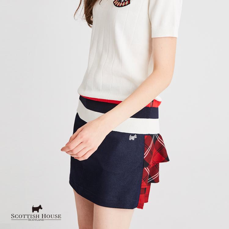 【紅黑格】仿牛仔X格紋蛋糕裙拼接感短裙 Scottish House【AH2106】