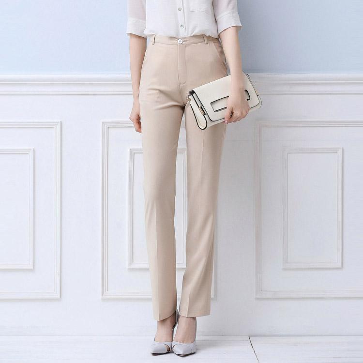 2016夏新款OL修身正裝褲職業高腰直筒白色西褲女長褲芭蕾朵朵