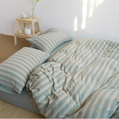 天竺棉四件套純棉簡約條紋床單被套針織棉全棉床笠床上用品菜綠細條